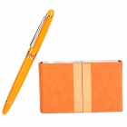 HERO 909 Black Ink Pen + Business Card Case Set - Orange + Yellow