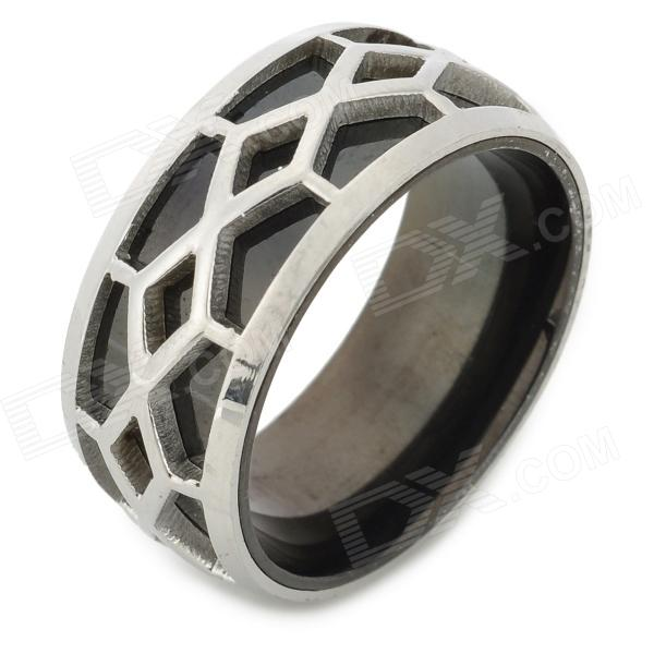 SHIYING jz024 Double-layer Men' s 316L Stainless Steel Finger Ring - Black + Silver shiying men s fashion 316l stainless steel split leather bracelet black silver