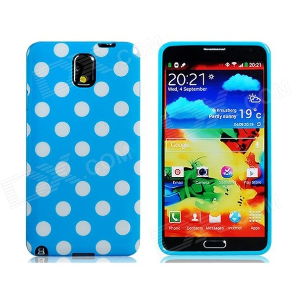 Polka Dot Print TPU Rubber Case for Samsung Galaxy Note 3 - Sky Blue + White 20m waterproof bag case for 5 7 cell phone samsung galaxy note 3 n9000 white