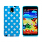 Polka Dot Print TPU Rubber Case for Samsung Galaxy Note 3 - Sky Blue + White