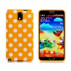 Polka Dot Print TPU Rubber Case for Samsung Galaxy Note 3 - Yellow + White