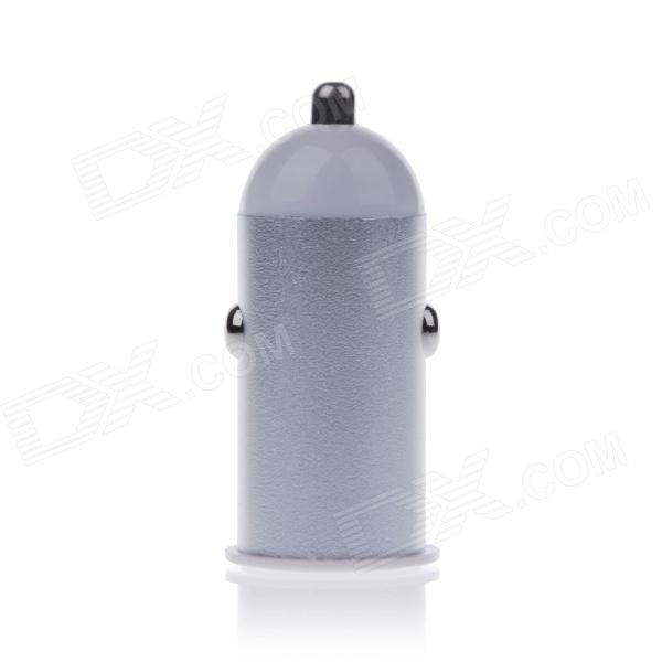 Mini 2.1A USB Car Cigarette Lighting Plug Power Charger - Silver + White (DC 12~24V)