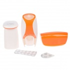 EZWIN Creative Automatic Toothpaste Dispenser w/ Toothbrush Holder / Tumbler - White + Orange