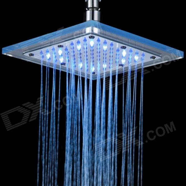 Thchi 8 inch Chrome Finish 3 Colors Changing LED Shower Faucet Head wholesale and retail luxury wall mounted chrome finish round rain shower head valve mixer tap swivel spout w hand shower