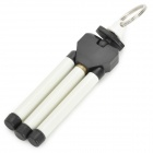 Mini Plastic Desktop Tripod w/ Key-chain for Digital Camera / Bag Decorations - White + Black