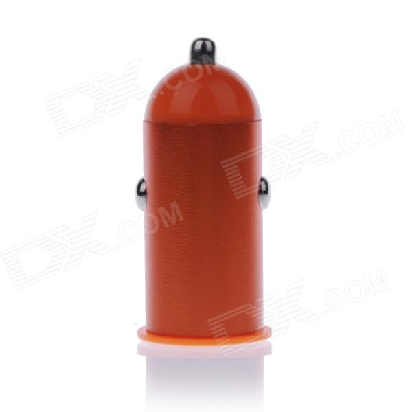 Mini 2.1A USB Car Cigarette Lighting Plug Power Charger - Orange + White (DC 12~24V)