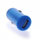 Mini 2.1A USB Car Cigarette Lighting Plug Power Charger - Silver + Blue (DC 12~24V)