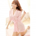 Sexy Silk Nightdress + T-back for Women - Pink