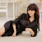 Sexy Silk Nightdress + T-back for Women - Black