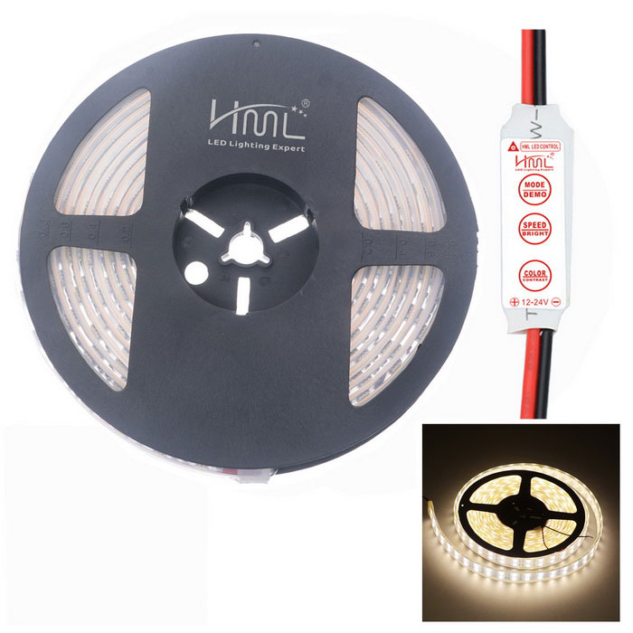HML Waterproof Dual Row 144W 6500lm 600-SMD 5050 LED Warm White Light Strip w/ Controller (12V / 5m) цена