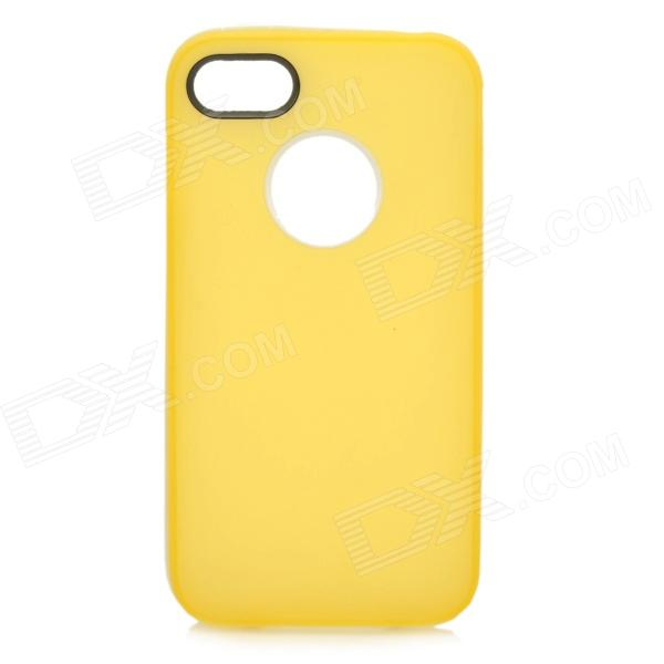 S-What Protective Matte TPU + PC Back Case for IPHONE 4 / 4S - White + Light Yellow spidercase rugged arc curved tpu pc mobile casing for iphone 7 4 7 inch purple