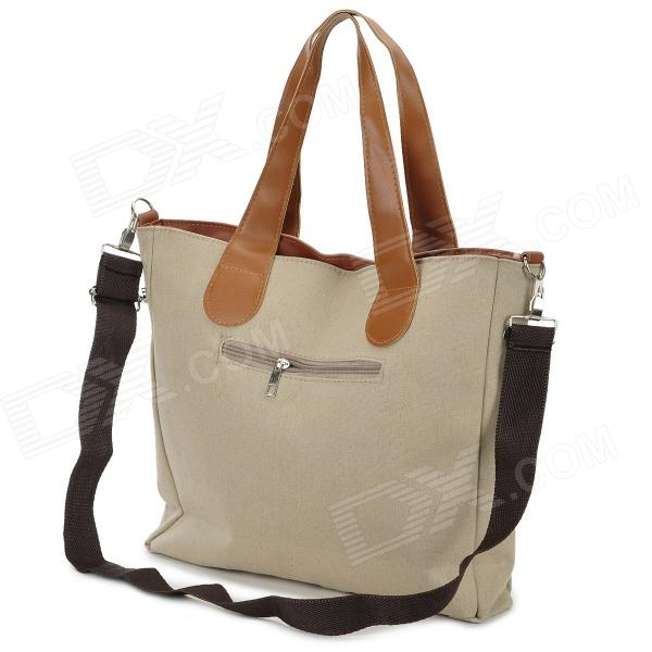 Casual Canvas Zipper Shoulder / Tote Bag - Khaki   Brown - Free ...