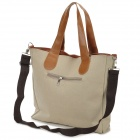 Casual Canvas Zipper Shoulder  / Tote Bag - Khaki + Brown