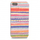 Retro Tribal Pattern Flip-open PU Leather Case for IPHONE 5 / 5S - Yellowish Brown + Blue