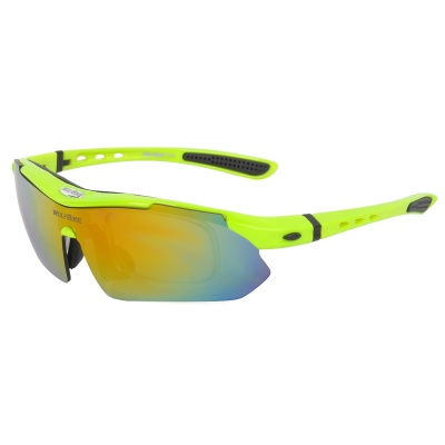 WOLFBIKE BYJ-013-G Outdoor Sports UV400 Protection Polarized Goggles - Green + Black