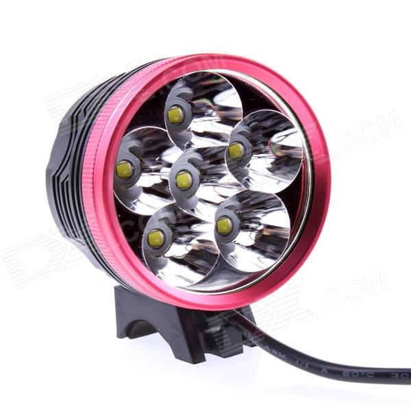 JN 6-LED 2800LM 3-mode White Bicycle Light Headlamp - Black + Red (6 x 18650)