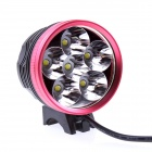 JN 6X Cree XM-L T6 2800LM 3-mode White Bicycle Light Headlamp - Black + Red (6 x 18650)