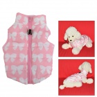 FF-01 Windproof Warm Cotton Zipper Jacket for Pet Dog - Pink + White (M)