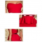6194 Fashionable Sexy Wrap Chest Halter Cocktail Dress - Red (Size L)