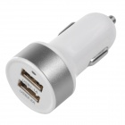 Double USB Power Car Cigarette Lighter Plug Charging Adapter - White (12~18V)