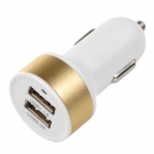 Double USB Power Car Cigarette Lighter Plug Charging Adapter - White + Golden (12~18V)