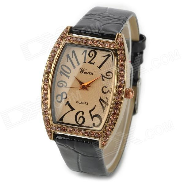 3391 PU Band Digital Quartz Wrist Watch for Women - Black + Gold