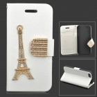 Stylish Eiffel Tower Ornament Cystal Inlaid PU Leather Case w/ Holder + Card Slot for IPHONE 5 / 5S