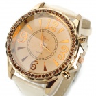 2253 PU Band Analog Quartz Wrist Watch for Women - Golden + White