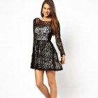 """2961 Fashionable Long Sleeve Hollow Sexy """"V"""" Halter Cocktail Dress - Black + Gold (Free Size)"""