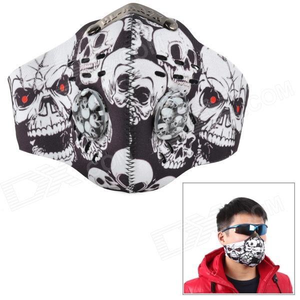 SAHOO 46868 Cycling Skull Pattern Antidust Neoprene Half Face - Black + White skull pattern outdoor motorcycle face mask shield guard white black free size