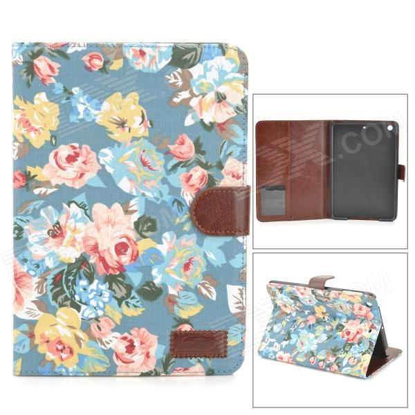 Flower Pattern PU Leather Case w/ Auto Sleep for IPAD MINI / RETINA IPAD MINI - Multicolored for ipad mini 1 2 3 matte litchi soft pu artificial leather case magnetic sleep wake up flip cover case retina