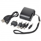 USB Hand Generator Charger  w/ Charging Cable + Adapters - Black