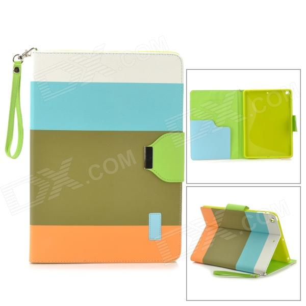 Protective PU Leather Case w/ Hand Strap for IPAD AIR - Blue + Green + Orange protective pu leather case w hand strap holder for ipad air lake green