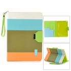 Protective PU Leather Case w/ Hand Strap for IPAD AIR - Blue + Green + Orange