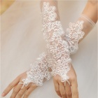 ST626 Bridal Embroidery Lace Mesh Finger Glove - White (2 PCS)