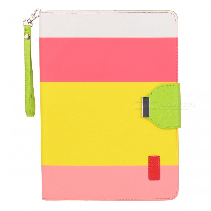 все цены на Protective PU Leather Case w/ Hand Strap + Holder + Auto Sleep for IPAD AIR - Multicolored онлайн