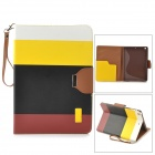 Protective PU Leather Case w/ Hand Strap for IPAD AIR - Yellow + Black + Brown