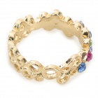 Colorful Zinc Alloy + Crystal Finger Ring for Women - Yellow + Golden + Multi-Colored