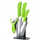 TJC 029 6.5'' Large Kitchen Knife + 4'' 6'' Zirconia Ceramic Knives + Peeler + Stand - White + Green