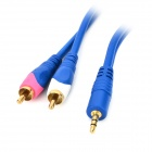 HL 3.5mm Male to 2 RCA Stereo Audio Cable - Blue (1.5 Meters)
