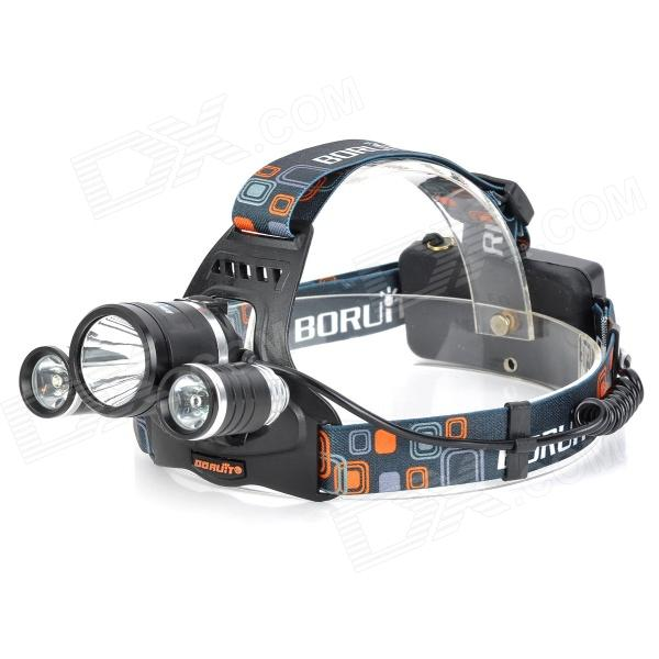 BORUIT RJ-3001 3-LED 1800lm 4-Mode White Bike Headlamp - Black + Silver (1 / 2 x 18650)