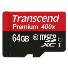 Transcend TF400X UHS-I Micro SDHC / TF Memory Card w/ SD Adapter - Black(64GB / Class 10)