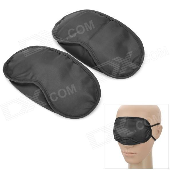 Sleeping Eye-Shade w/ Double Elastic Bands for Travellers - Black (2PCS)