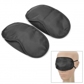 Sleeping Eyeshade w/ Double Elastic Bands for Traveller - Black (2PCS)