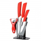 TJC 029 6.5'' Large Kitchen Knife + 4'' 6'' Zirconia Ceramic Knives + Peeler + Stand - White + Red