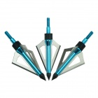 3 - Cuchillas Caza Disparos Arrow Head puntas de caza - Blue + Silver (3 PCS)