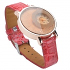 1920 Stylish PU Leather Band Women's Quartz Analog Wrist Watch w/ Crystal - Red (1 x 626)