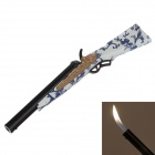 Horn Pattern Handle Gun Super Fire Refillable Lighter - White + Blue + Black