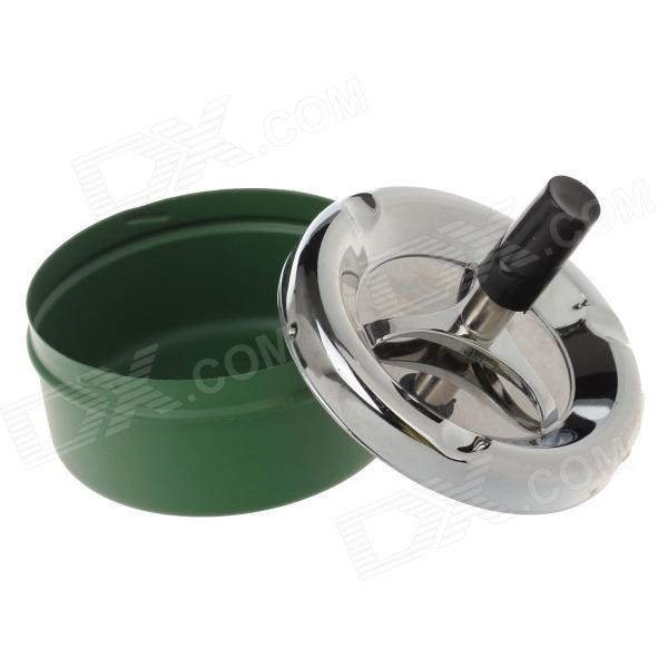 601-5 Creative Spring Press Ashtray - Deep Green + Silver + Black ashtray