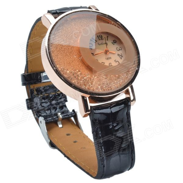 1920 Stylish PU Leather Band Women's Quartz Analog Wrist Watch w/ Crystal - Black (1 x 626)